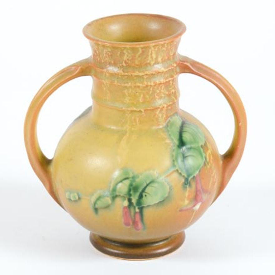 Roseville Pottery 1938 Fuschia Vase Ebth