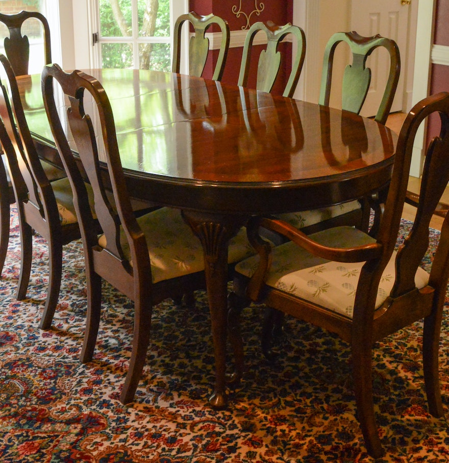 Drexel heritage mahogany dining room table and chairs ebth for Mahogany dining room furniture