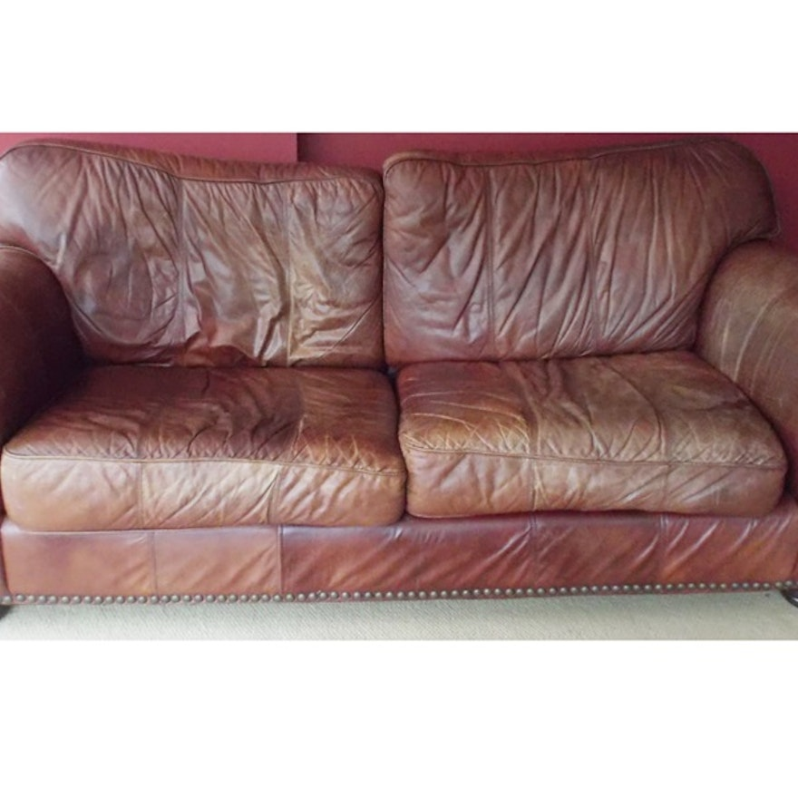 Robinson and Robinson Brown Leather Sofa