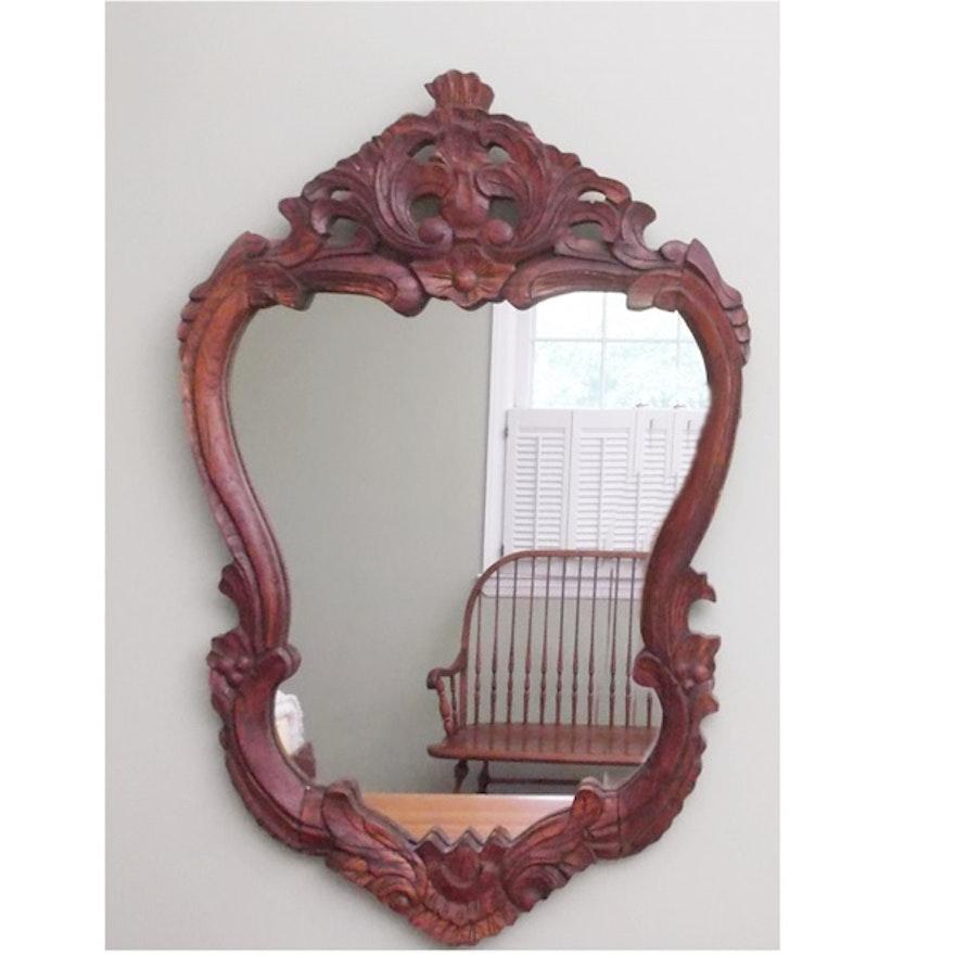 Antique Hand Carved Wooden Mirror