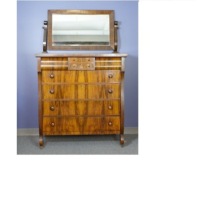 Antique Empire Style Walnut Chest of Drawers with Mirror - Online Furniture Auctions Vintage Furniture Auction Antique