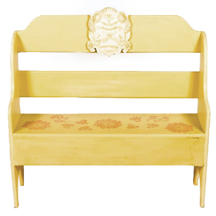Astounding Hand Painted Off White Garden Bench Andrewgaddart Wooden Chair Designs For Living Room Andrewgaddartcom