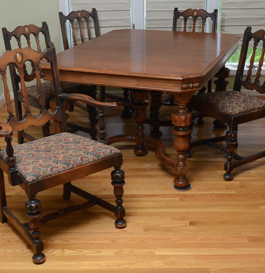 Jacobean style dining room table and chairs ebth for Looking for dining room table and chairs