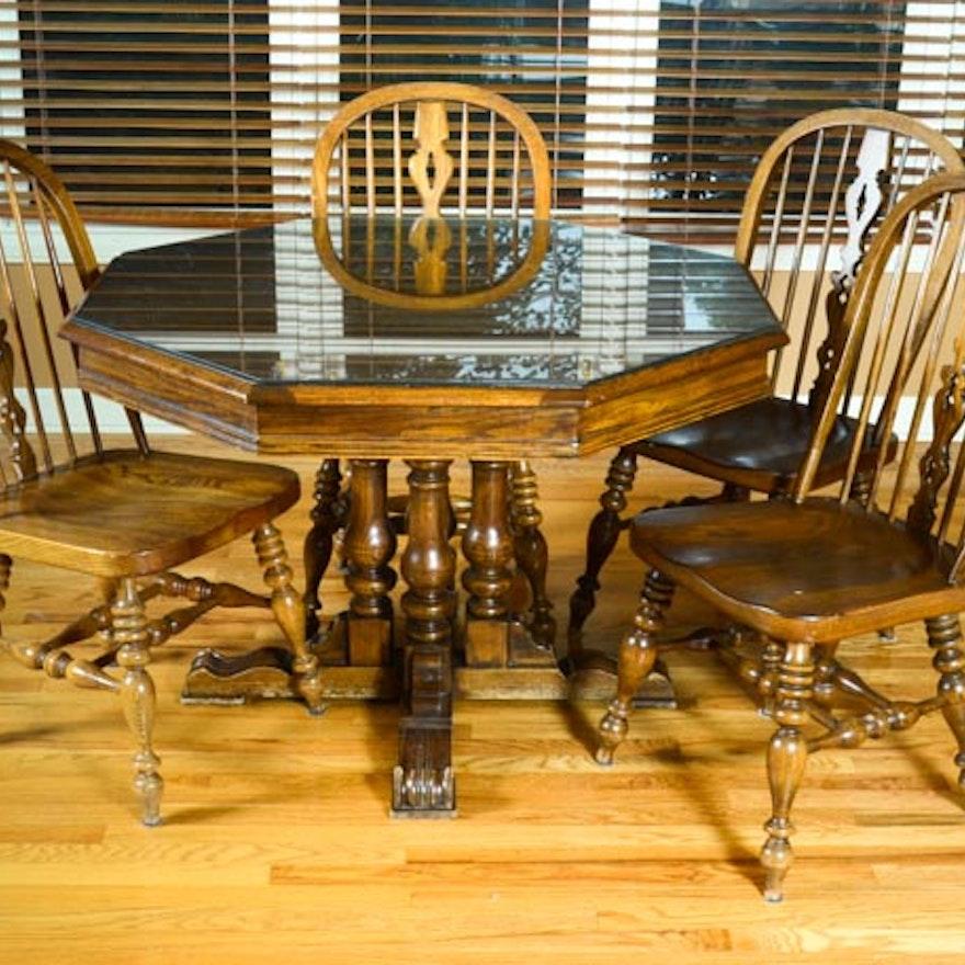 Ethan Allen Royal Charter Oak Dining Set Ebth