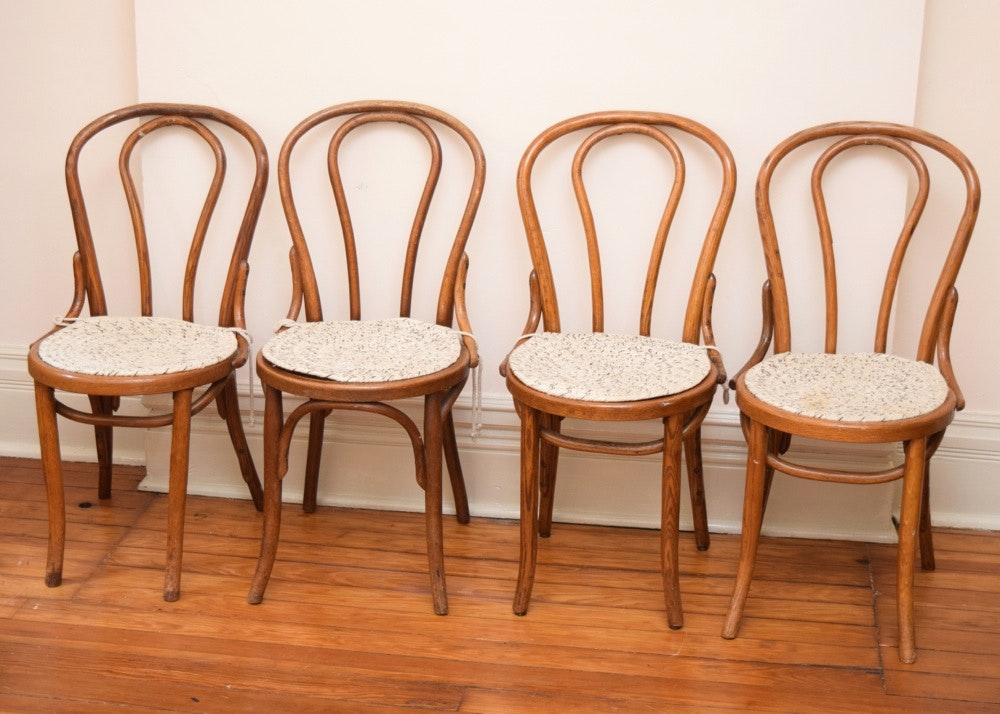 Great Four Vintage Bentwood Cafe Chairs With Woven Seat Covers ...