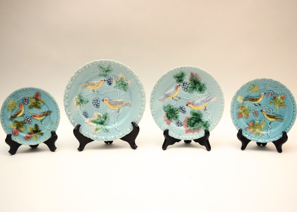 Collection of German Majolica Bird with Grapes Plates by Zell ... & Collection of German Majolica Bird with Grapes Plates by Zell : EBTH