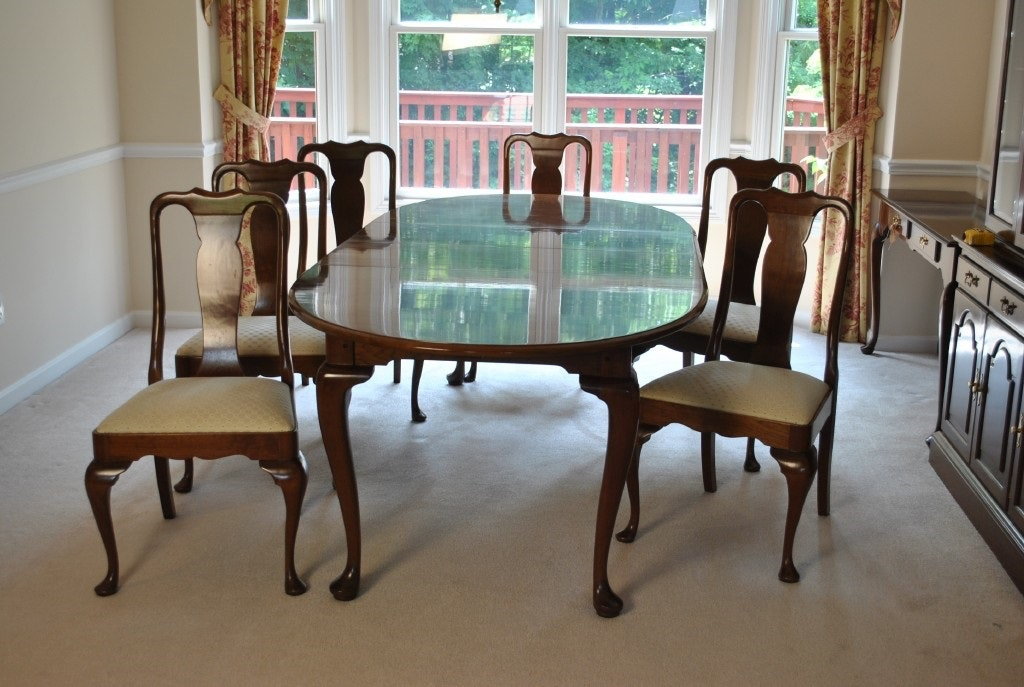 stickley cherry dining room table and six chairs ebth