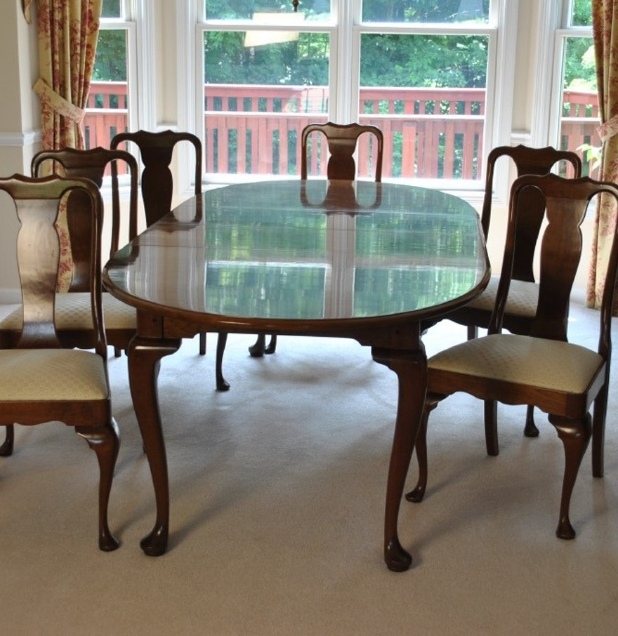 Stickley cherry dining room table and six chairs ebth for Cherry dining room chairs