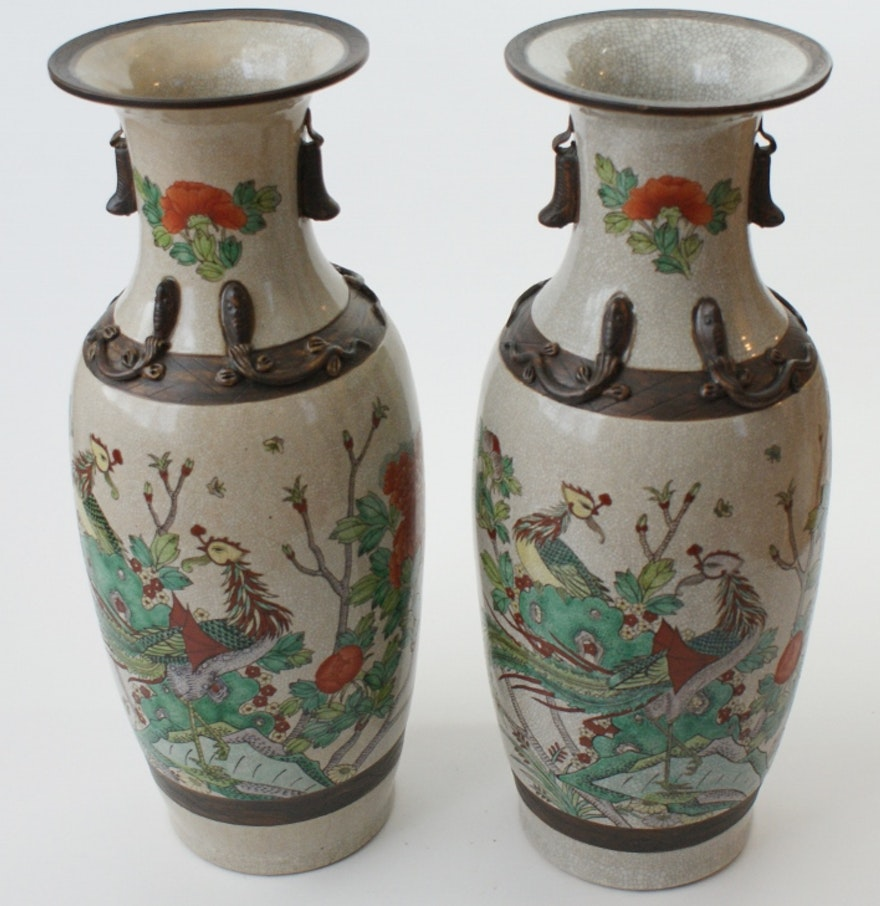 Two Large Chinese Ming Dynasty Style Porcelain Floor Vases