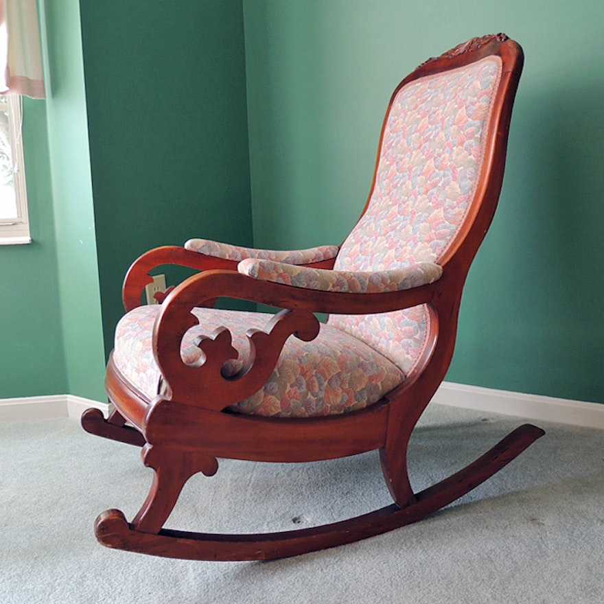 Tremendous Vintage Wooden Rocking Chair With Leaf Pattern Upholstery Creativecarmelina Interior Chair Design Creativecarmelinacom