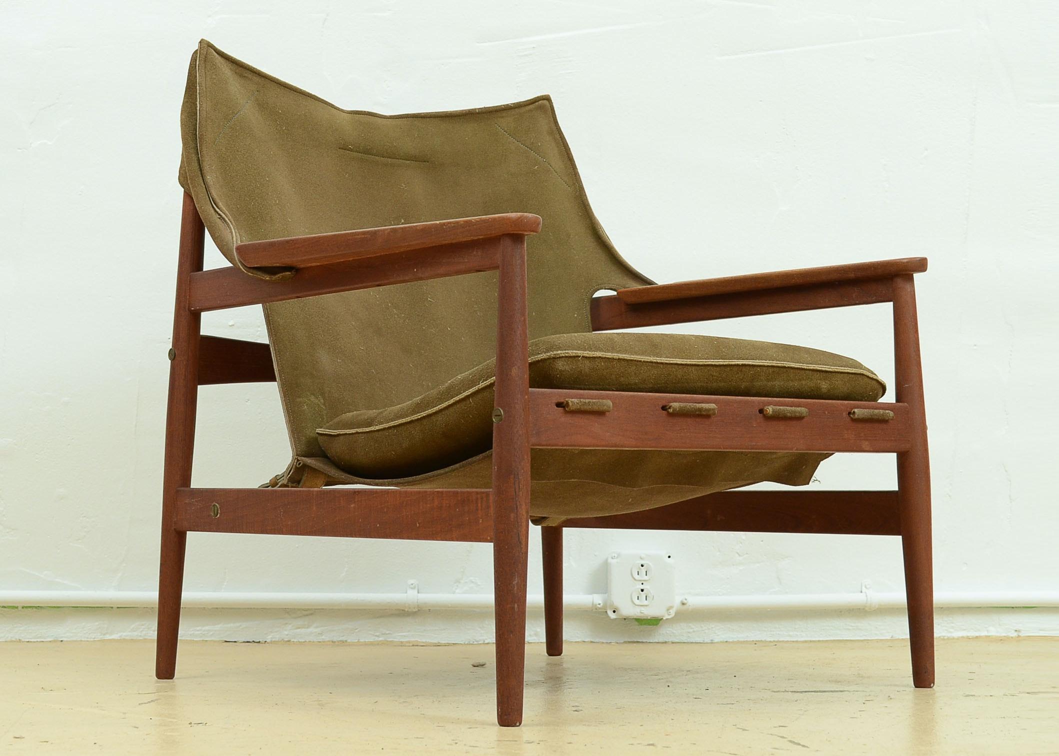 Rare Hans Olsen Sling Chair For Viska Mobler ...