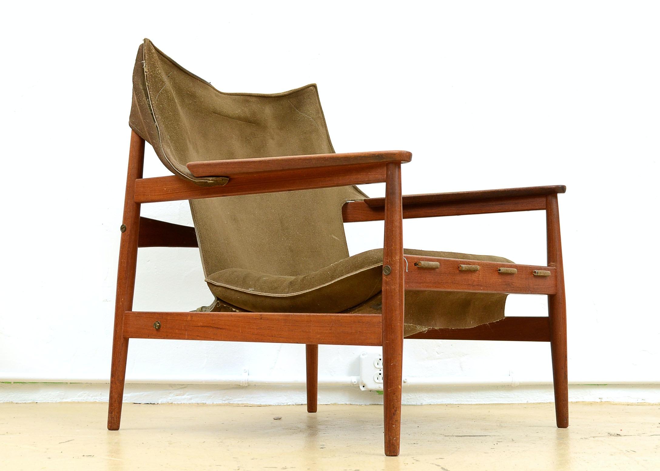 Good Rare Hans Olsen Sling Chair For Viska Mobler ...