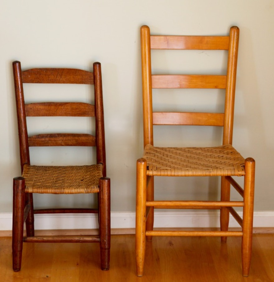 Ladder Back Chairs With Rush Woven Seats Ebth