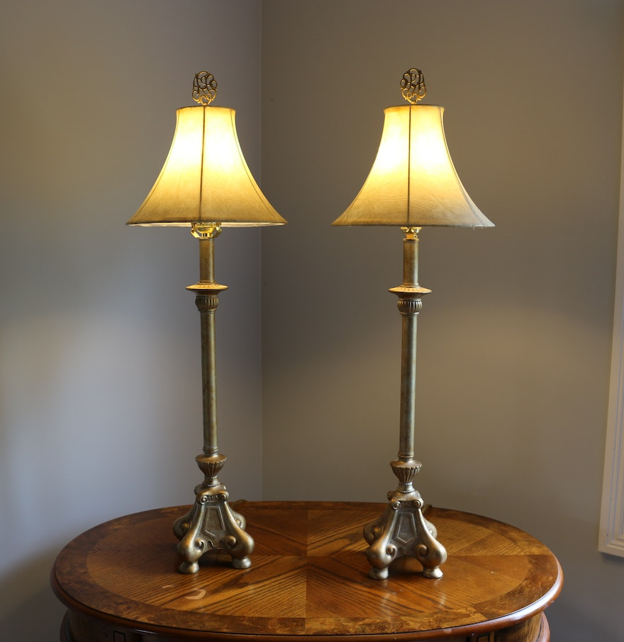 Matching floor and table lamps - Pair Of Matching Gold Tone Candlestick Table Lamps