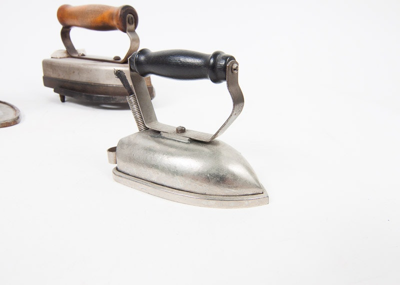 Early Electric Irons ~ Three early th century electric irons ebth