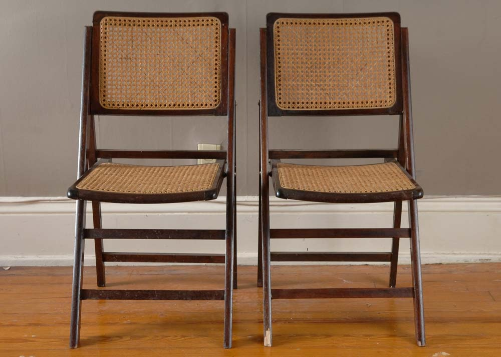 Two Vintage Cherry And Rattan Folding Chairs ...