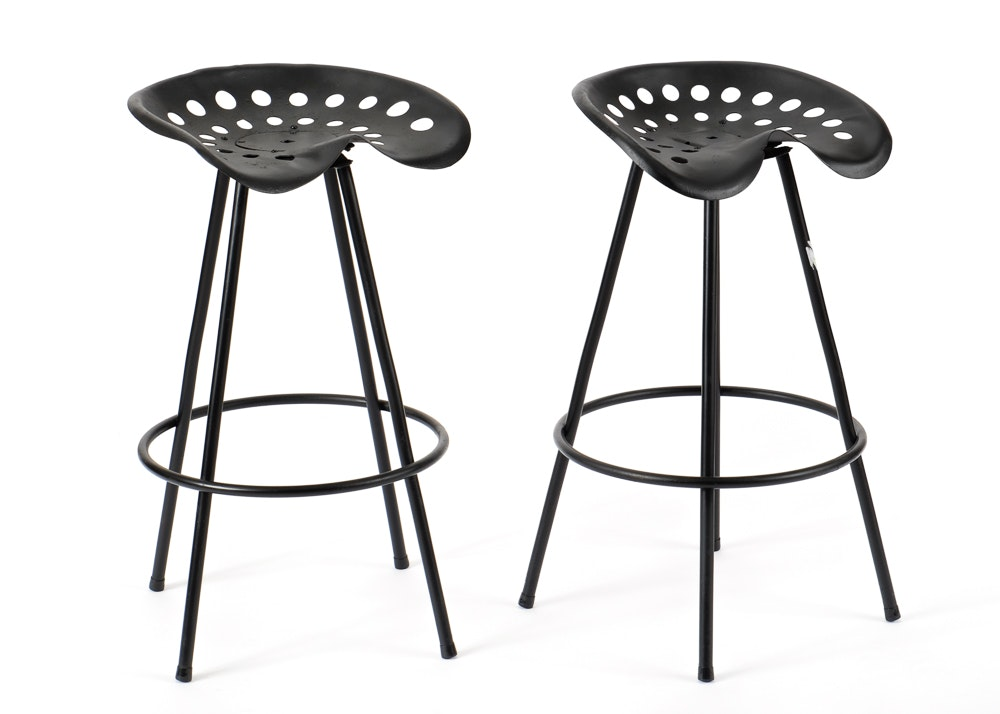Pair Of Stools With Tractor Seats Ebth