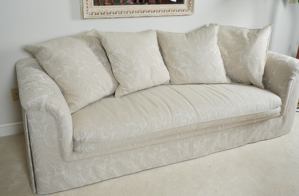 Contemporary Off White Sofa With Pillows ...