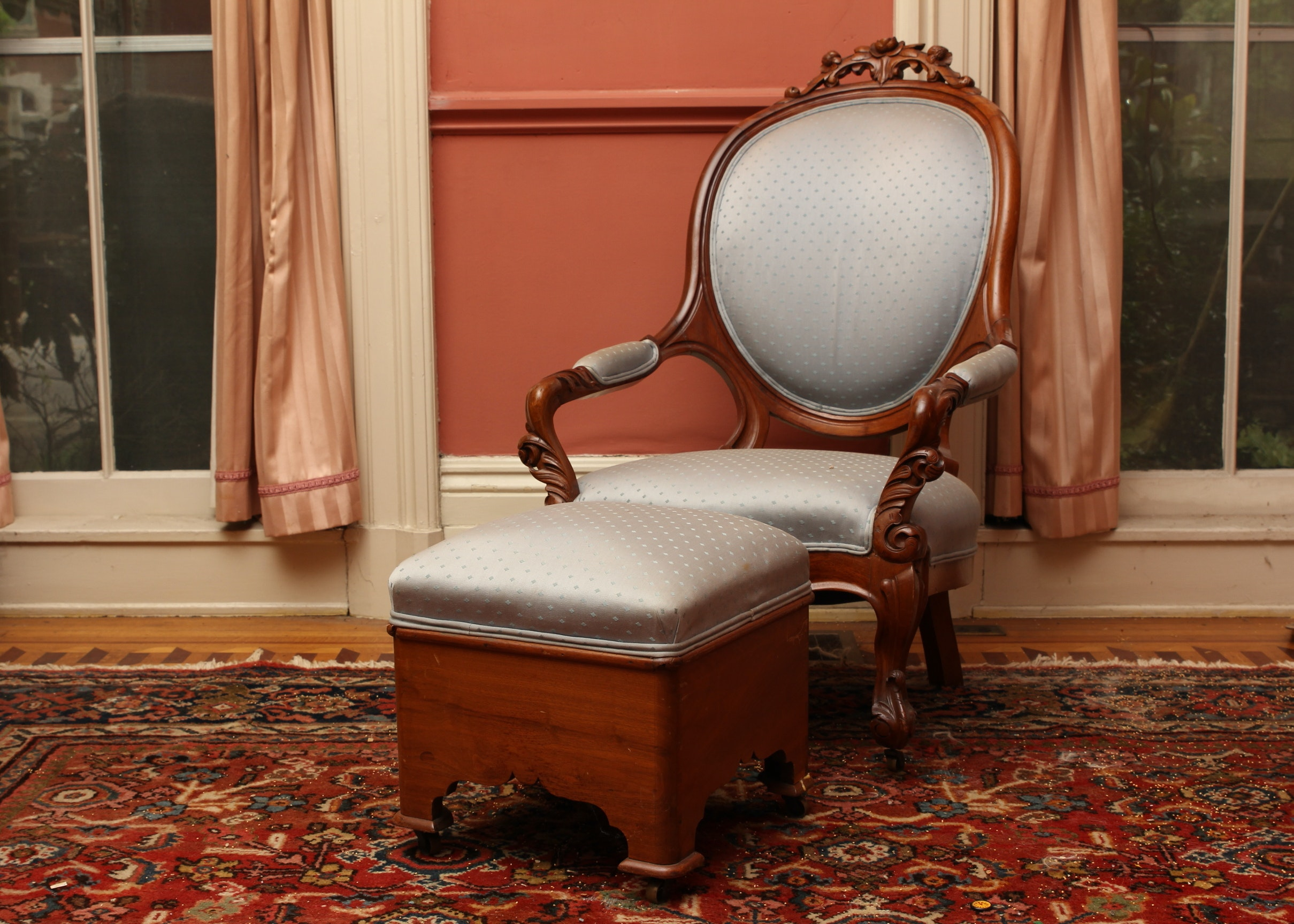 Antique Victorian Era Balloon Back Armchair And Footstool