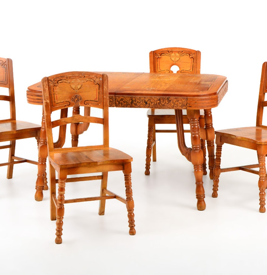 1930s art deco pioneer oak dining table with four chairs for Four chair dining table