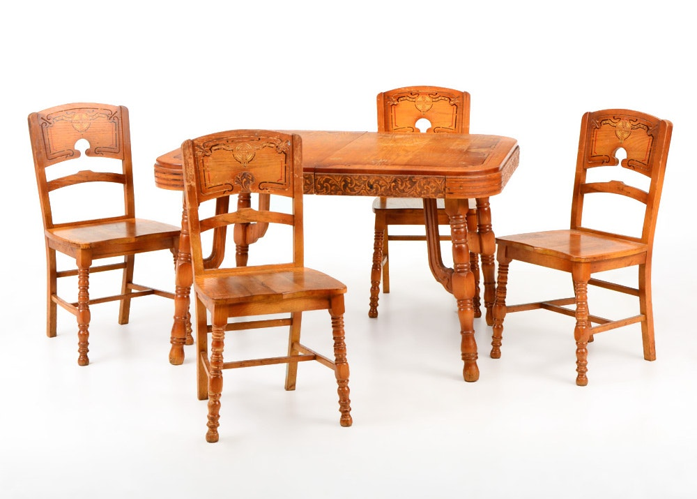 1930s art deco pioneer oak dining table with four chairs     1930s art deco pioneer oak dining table with four chairs   ebth  rh   ebth com