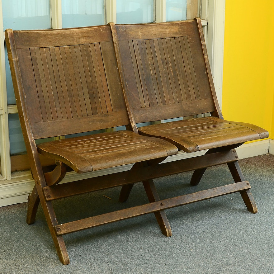 - Antique Double Wooden Folding Chair : EBTH