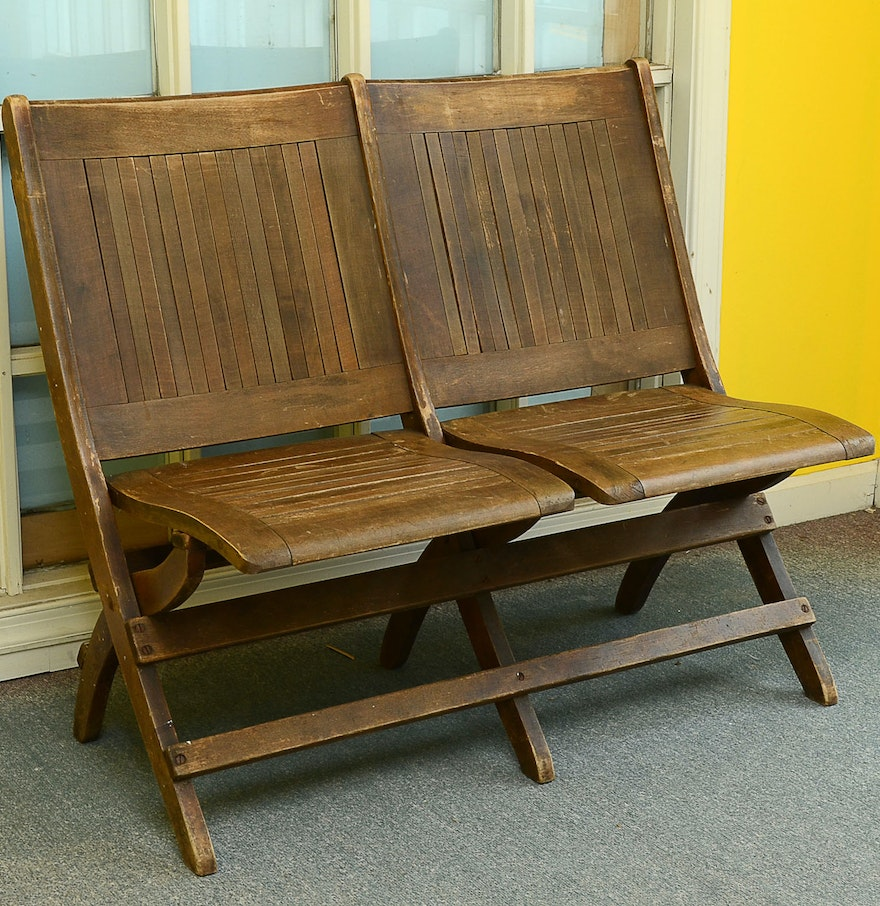 Antique Double Wooden Folding Chair ... - Antique Double Wooden Folding Chair : EBTH