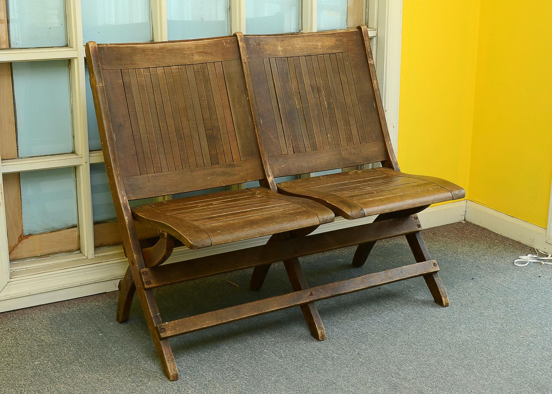 antique double wooden folding chair