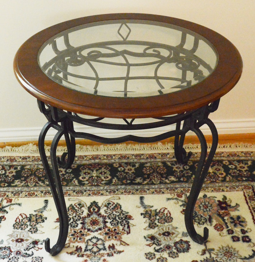 Wood and wrought iron side table ebth for Iron and wood side table