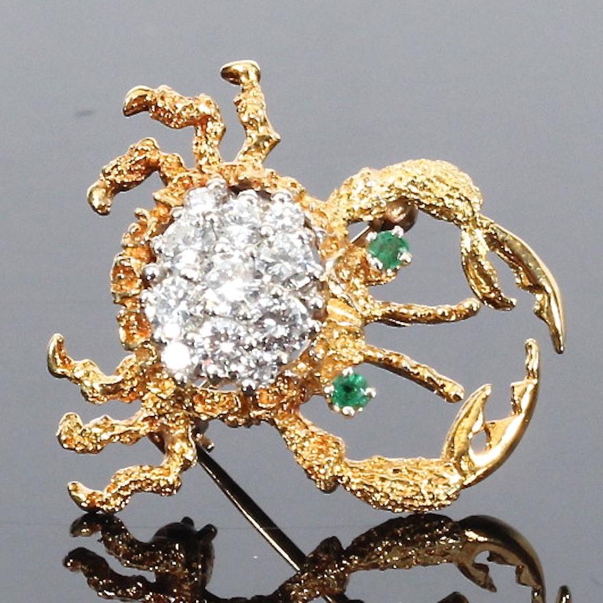 Diamond and Emerald Crab Brooch