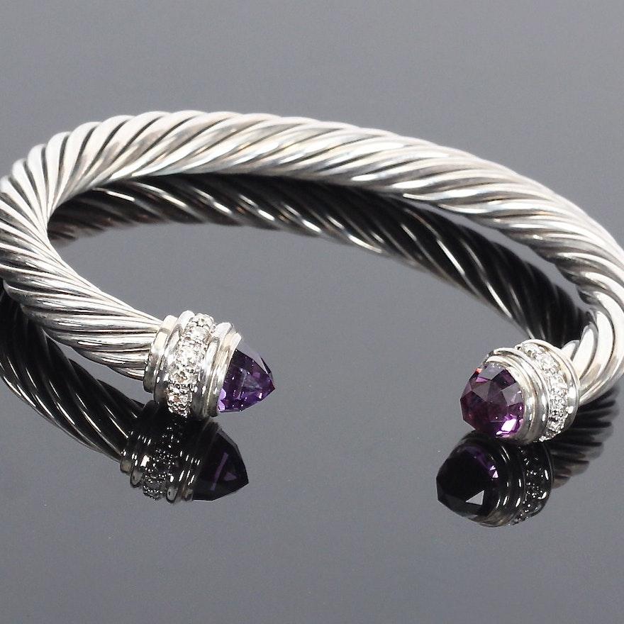 David Yurman Amethyst and Diamond Cable Classics Bracelet