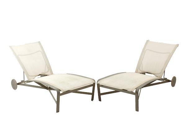 Brown jordan meridian collection pair of adjustable for Brown jordan chaise