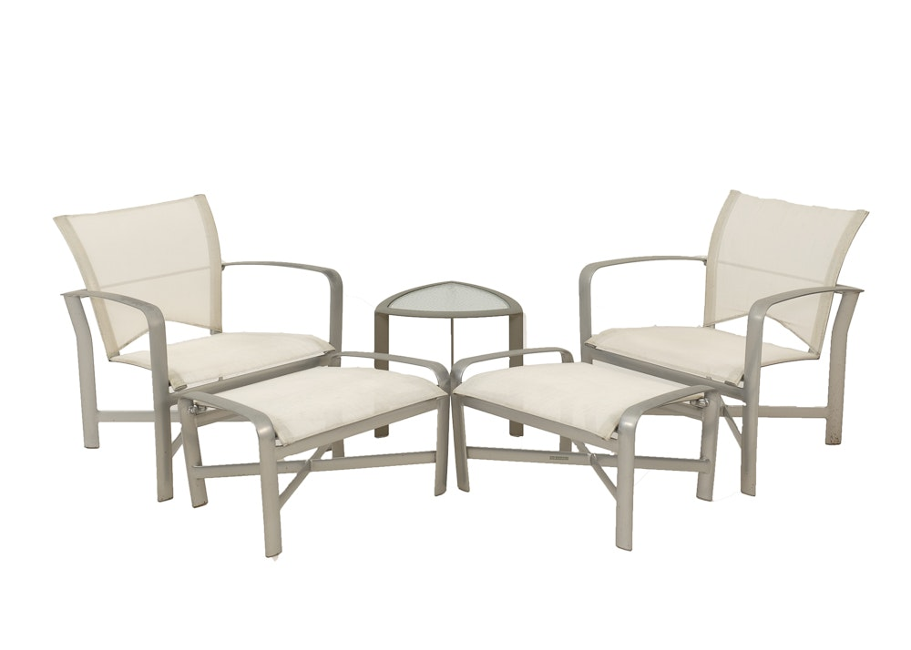 Brown Jordan Lounge Chairs Ottomans and Table EBTH