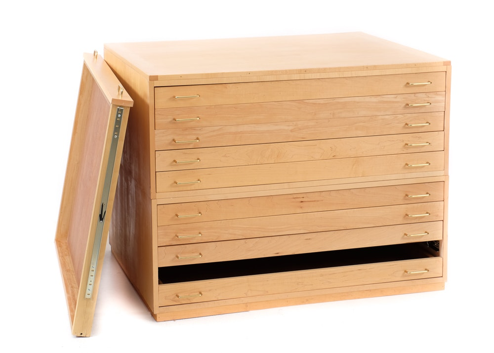 Maple Flat File Cabinet ...