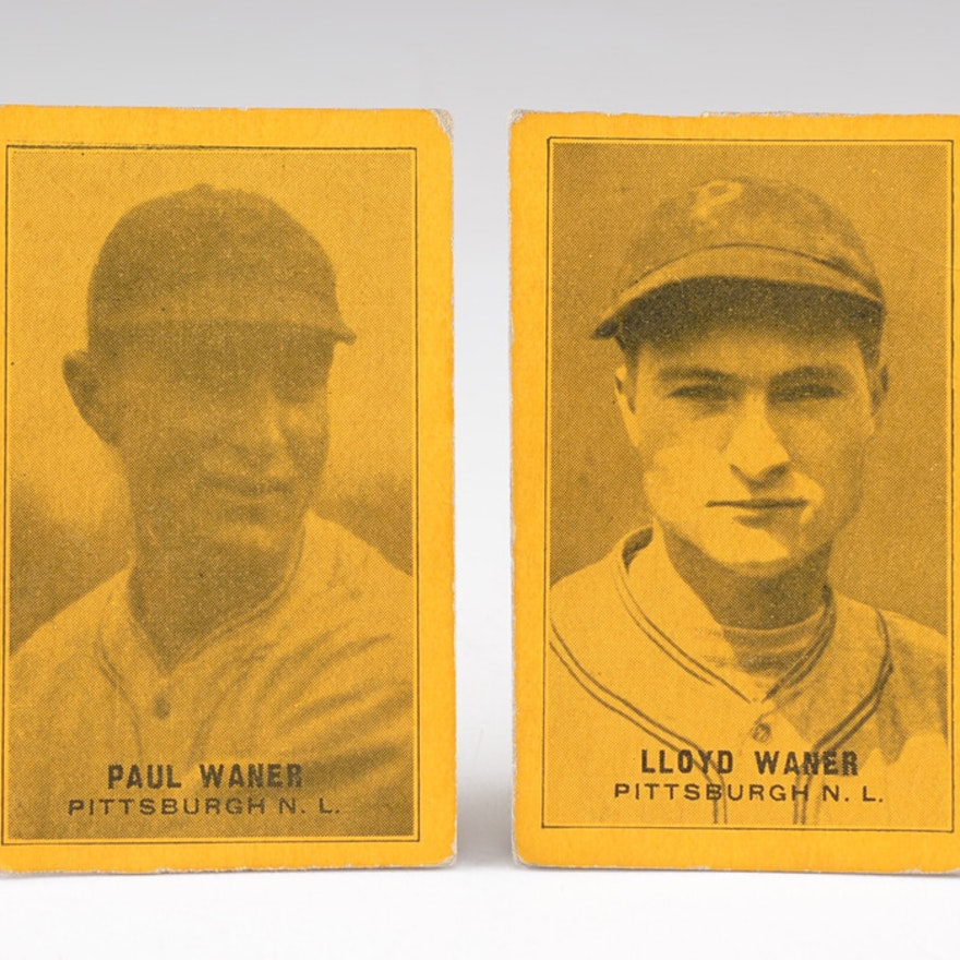 1930s Lloyd Waner And Paul Waner Pirates Baseball Cards