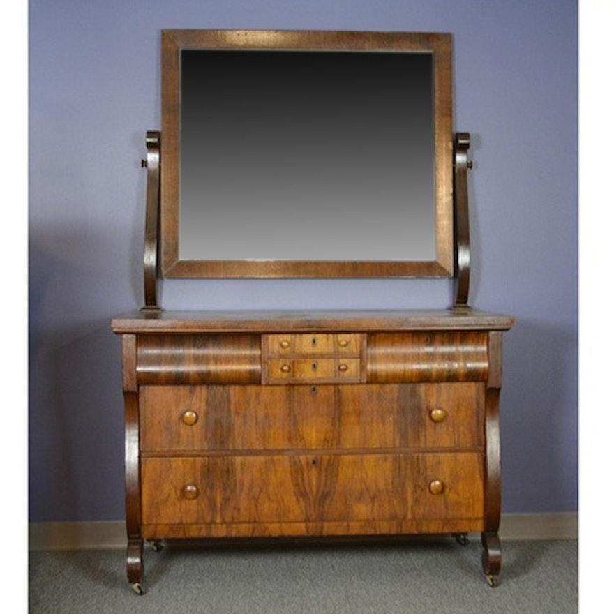 Antique Empire Style Walnut Dresser With Mirror