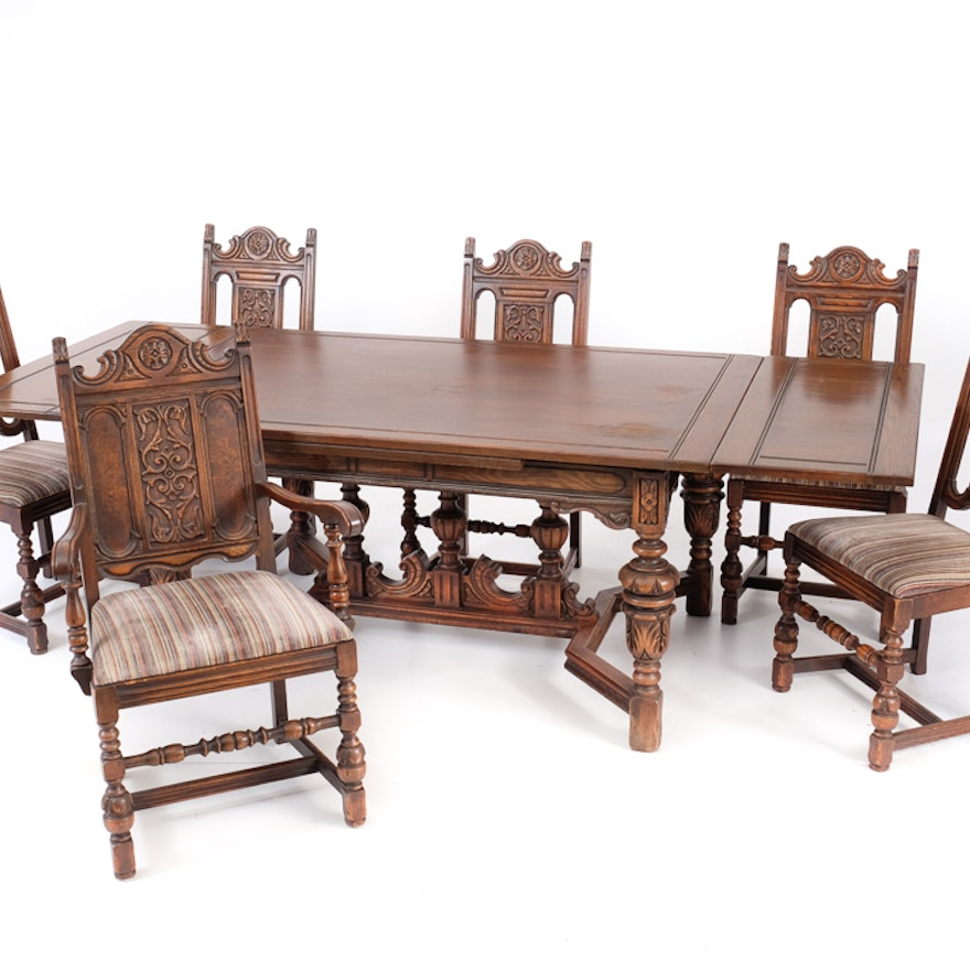 1920s Bernhardt Dining Table and Six Chairs