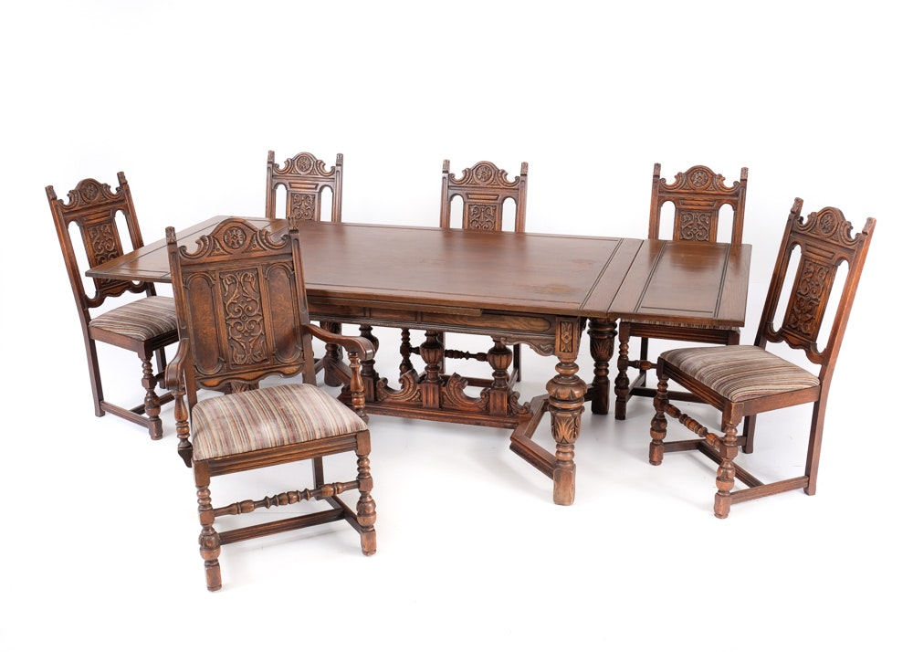 1920s Bernhardt Dining Table And Six Chairs ...