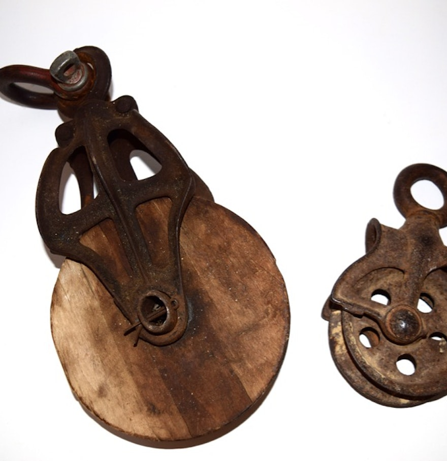 Cast Iron Pulleys For Sale : Pair of vintage cast iron pulleys ebth