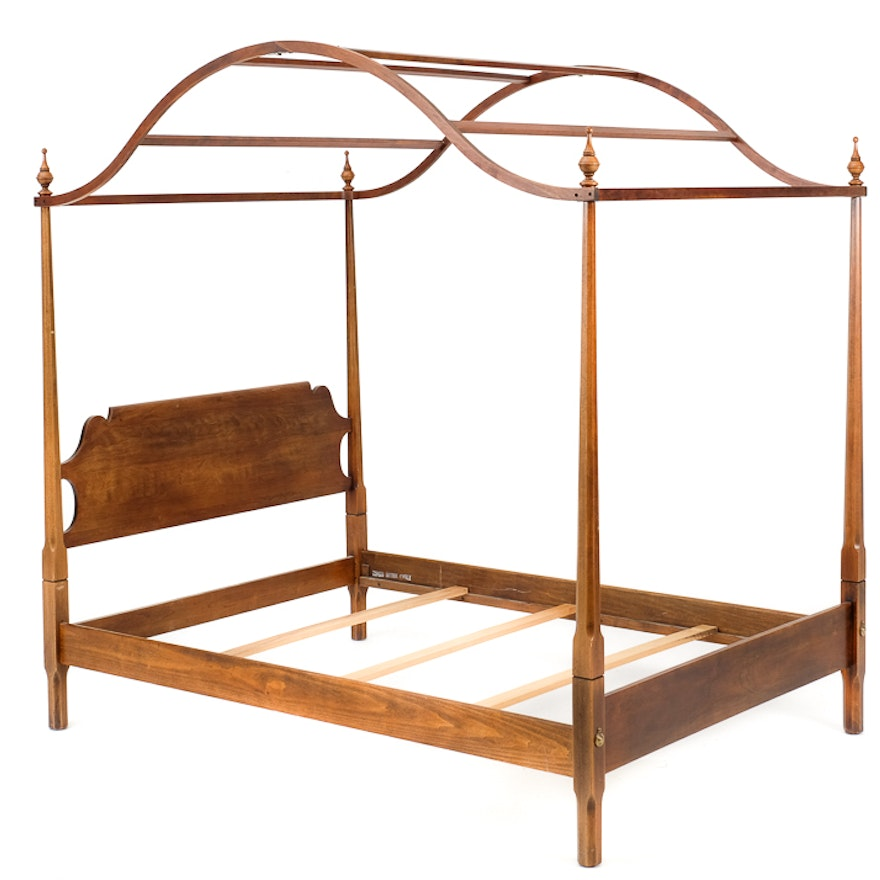 Oxford Cherry Full-Sized Four-Post Bed Frame : EBTH