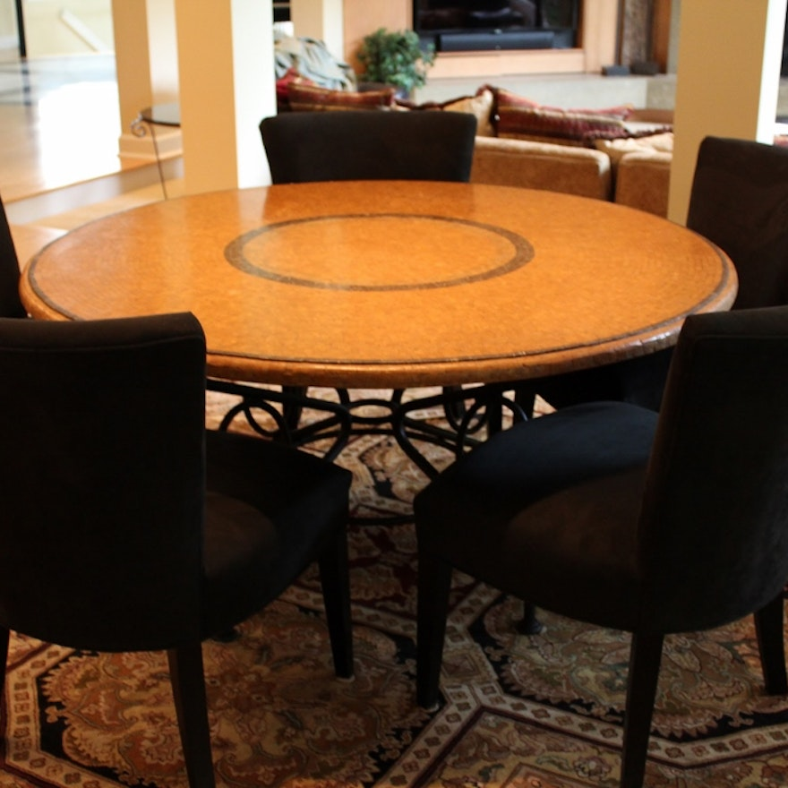 "Arhaus Italian Mosaic Dining Table With ""Douglas"" Chairs"