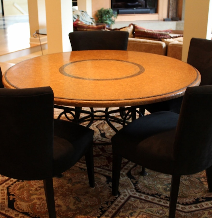 arhaus italian mosaic dining table with douglas chairs ebth. Black Bedroom Furniture Sets. Home Design Ideas
