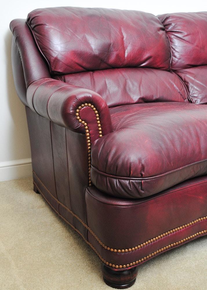 Hancock And Moore Burgundy Leather Sofa Ebth