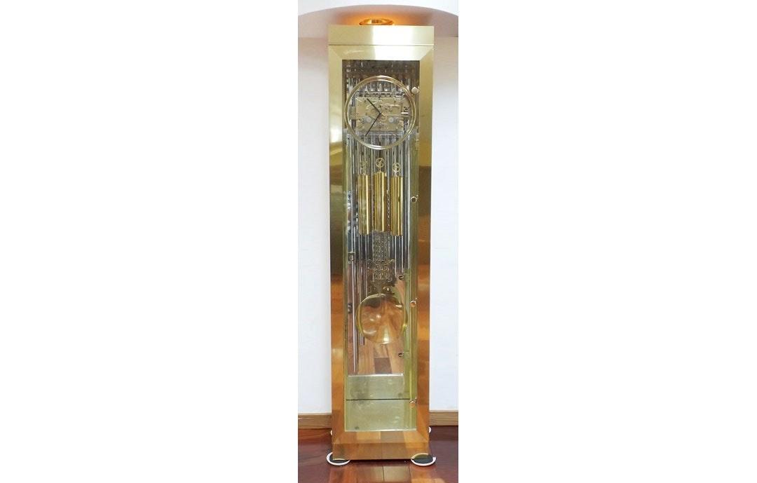 modern howard miller brass and glass grandfather clock