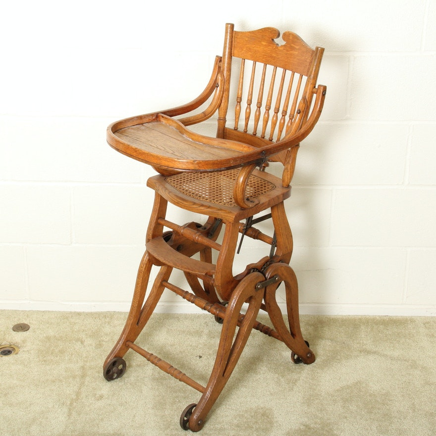 Antique Oak High Chair-Stroller ... - Antique Oak High Chair-Stroller : EBTH