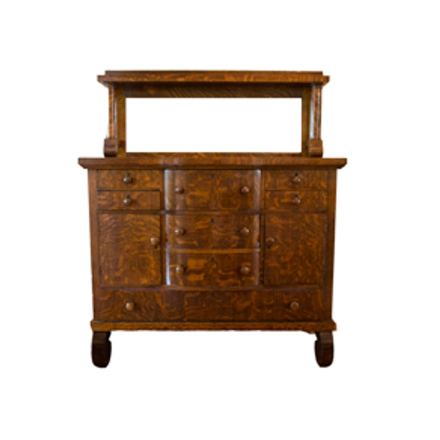Antique American Empire Tiger Oak Buffet ... - Antique American Empire Tiger Oak Buffet : EBTH
