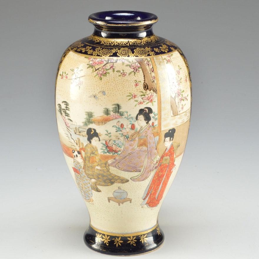Early 20th Century Signed Nambe Satsuma Porcelain Vase Ebth