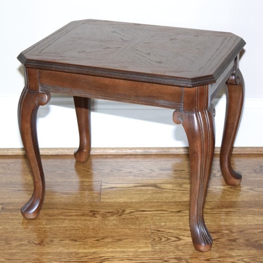 Oak Side Table With Cabriole Legs And Walnut Stain