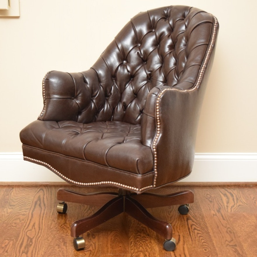 tufted leather office chair in mahogany brown ebth