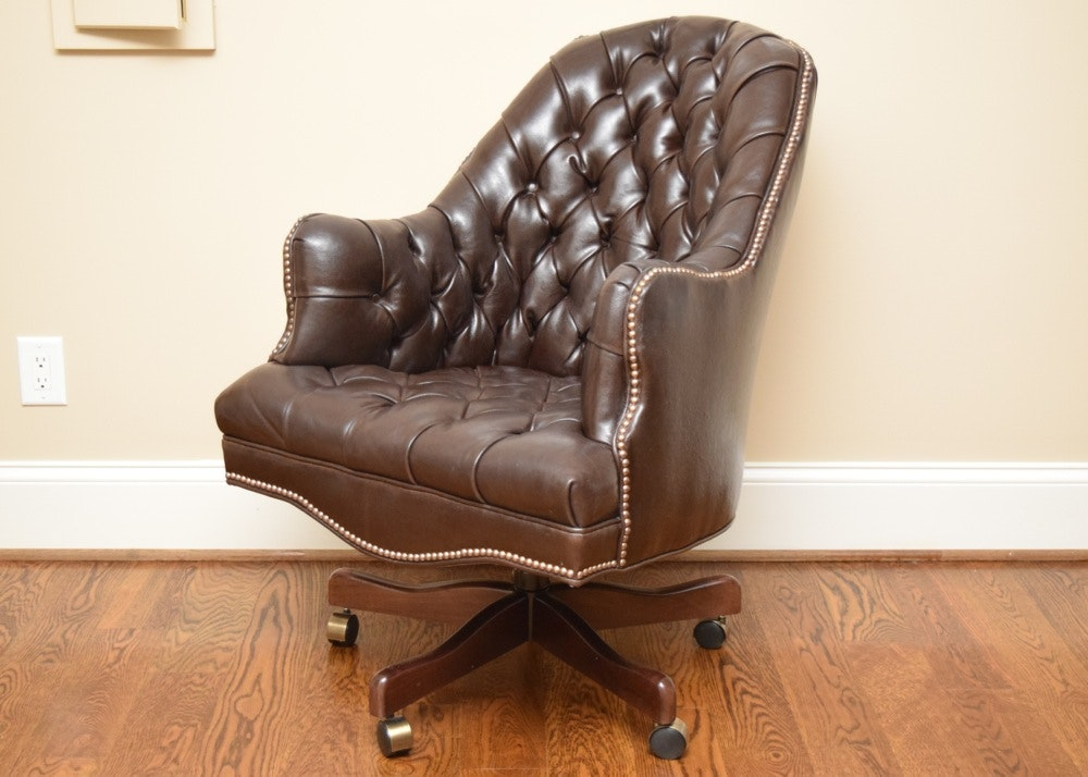 Tufted Leather Office Chair in Mahogany Brown ... & Tufted Leather Office Chair in Mahogany Brown : EBTH